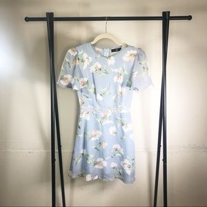 Missguided Floral Mini Dress Mock Neck Size 2